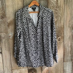 Lane Bryant Cheetah Animal Print Button Blouse 24
